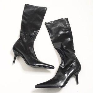 "Steve Madden | Black ""Leather"" Knee-High Boots"